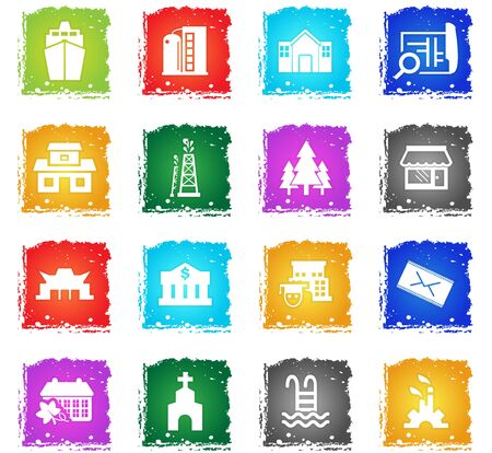 infrastructure vector web icons in grunge style for user interface design 일러스트