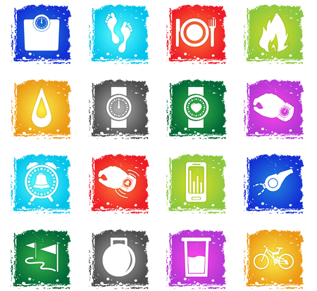 jogging vector icons web icons in grunge style for user interface design