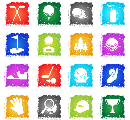golf vector web icons in grunge style for user interface design Illustration