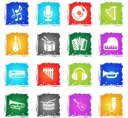 music vector web icons in grunge style for user interface design Illustration