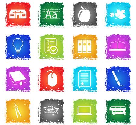 école vecteur icônes web dans le style grunge pour la conception de l'interface utilisateur