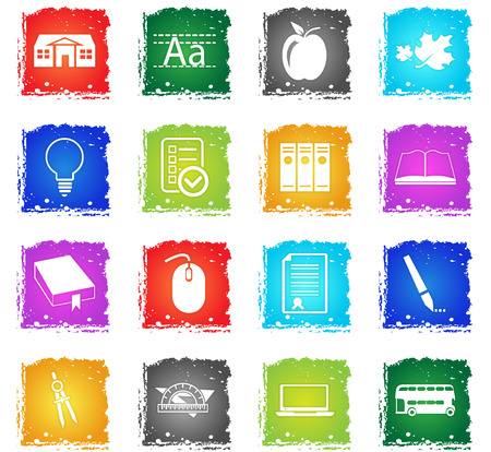 school vector web icons in grunge style for user interface design Illustration