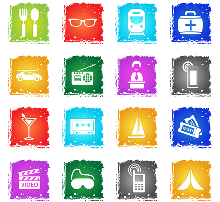 travel vector web icons in grunge style for user interface design