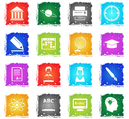university vector web icons in grunge style for user interface design
