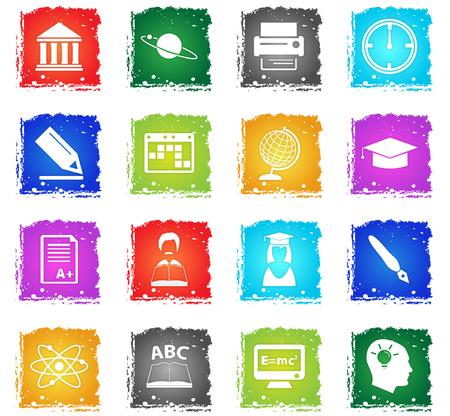 icônes web universitaires vecteur dans le style grunge pour la conception de l'interface utilisateur
