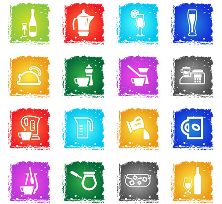 cocktail mixer: utensils for beverages vector web icons in grunge style for user interface design