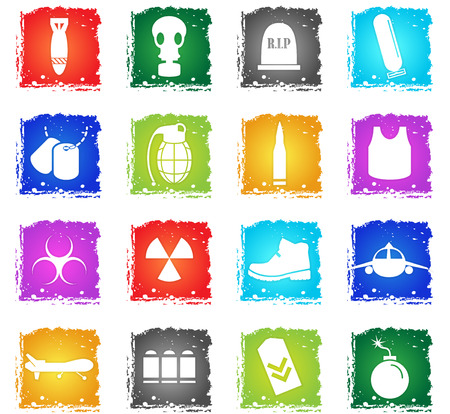 war symbols vector web icons in grunge style for user interface design Illustration