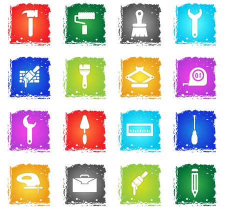 work tools vector web icons in grunge style for user interface design Stock Vector - 73781453