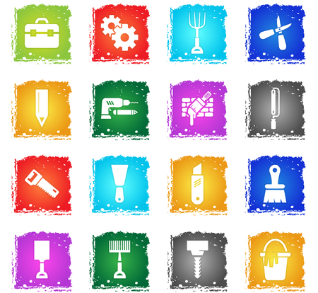 anvil: work tools vector web icons in grunge style for user interface design Illustration