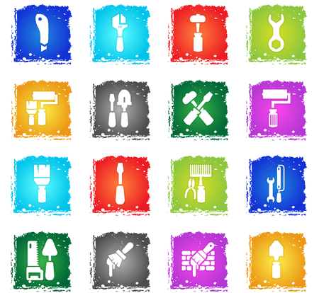 work tools vector web icons in grunge style for user interface design Illustration
