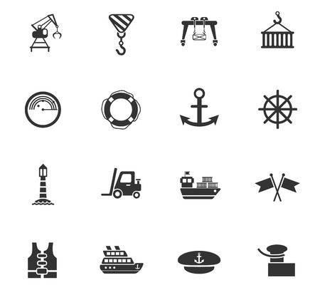 mooring anchor: Harbor web icons for user interface design