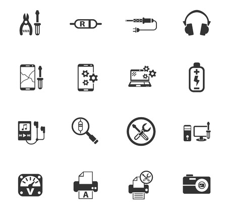 grounding: Electronics repair web icons for user interface design Illustration