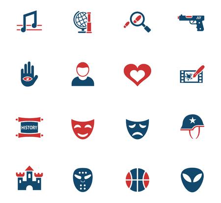 Cinema genre web icons for user interface design Illustration