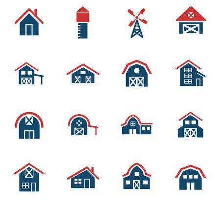 farm building web icons for user interface design