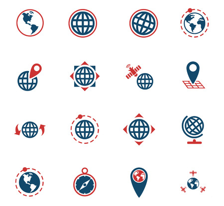 magnyfying glass: Globes web icons for user interface design Illustration