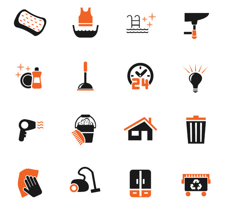 Cleaning company web icons for user interface design Illustration