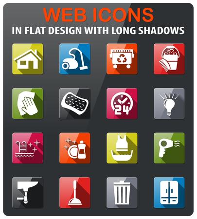icone della società di pulizia impostato in design piatto con una lunga ombra