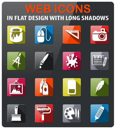 art outils icônes définies dans un design plat à grandissime