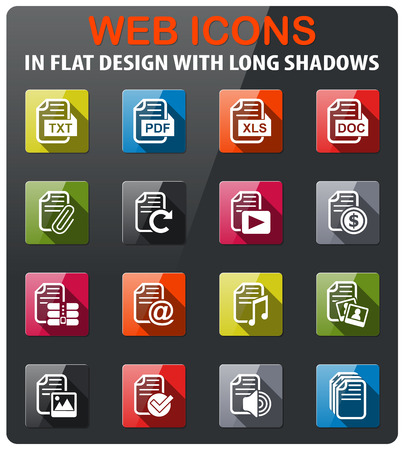 document icons set in flat design with long shadow