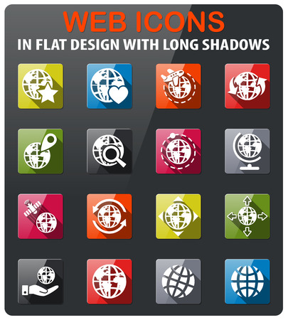 magnyfying glass: globes icons set in flat design with long shadow