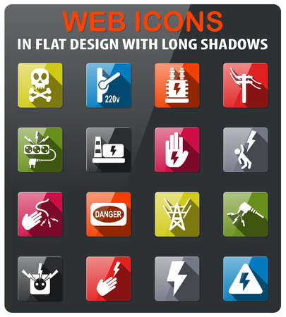 high voltage icons set in flat design with long shadow Illustration