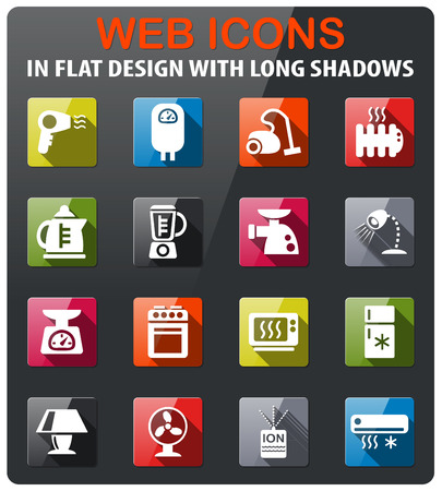 home appliances icons set in flat design with long shadow