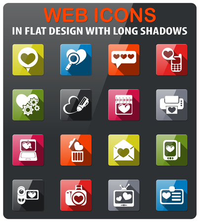love icons set in flat design with long shadow Иллюстрация