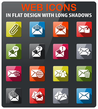 select all: mail and envelope icons set in flat design with long shadow Illustration