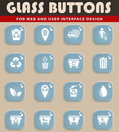 Glass button garbage web icons for user interface design