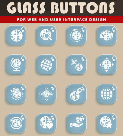 magnyfying glass: Glass button globes web icons for user interface design