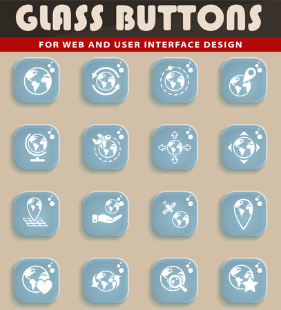 magnyfying glass: Glass button seth of icons for user interface design