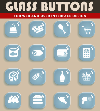 Glass button set of grocery store web icons for user interface design
