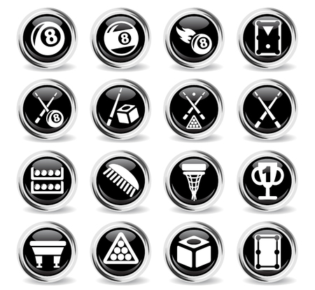 pool cues: billiards web icons for user interface design