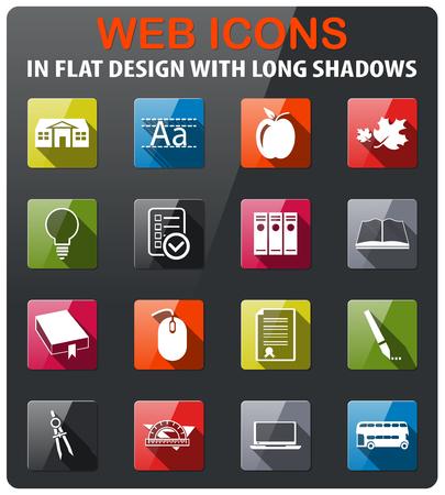 icônes scolaires définies dans la conception plat avec ombre longue