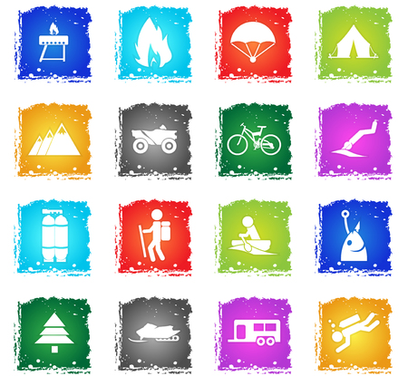 active recreation web icons in grunge style for user interface design