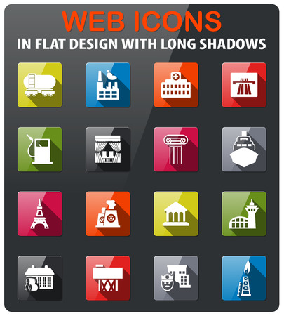 infrastructure icons set in flat design with long shadow