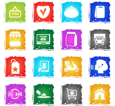 e-commerce vector web icons in grunge style for user interface design