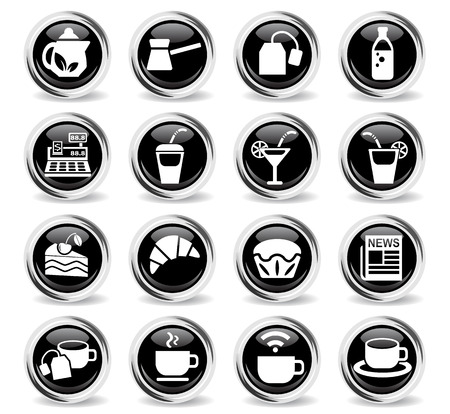 cafe web icons for user interface design Illustration