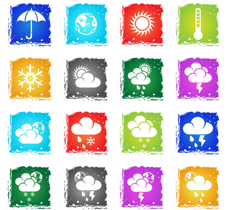 Weather simply icons in grunge style for your design Illustration