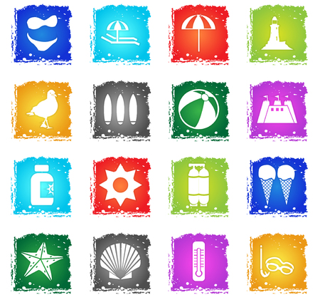 beach web icons in grunge style for user interface design Illustration