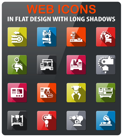 machine tools icons set in flat design with long shadow