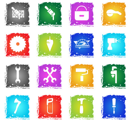 work tools web icons in grunge style for your design