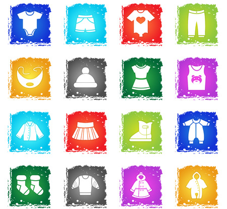 baby clothes web icons in grunge style for user interface design Illustration