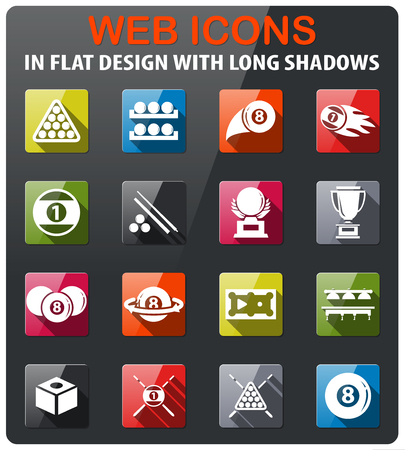 billiards icons set in flat design with long shadow