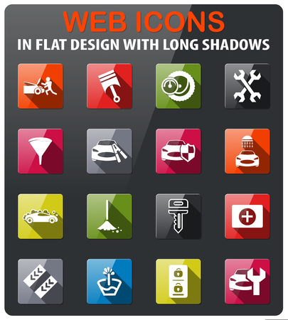 car shop icons set in flat design with long shadow Stock Vector - 74206332
