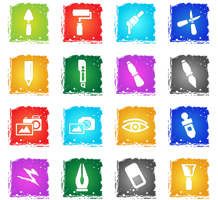 eye pipette: art tools web icons in grunge style for user interface design