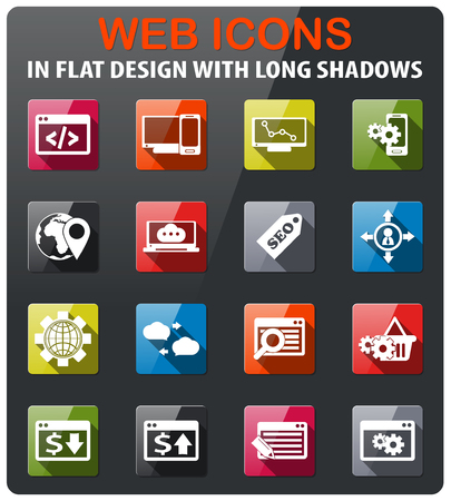 optimisation: seo icons set in flat design with long shadow
