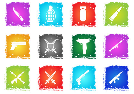 Weapon simply icons in grunge style for your design Illustration
