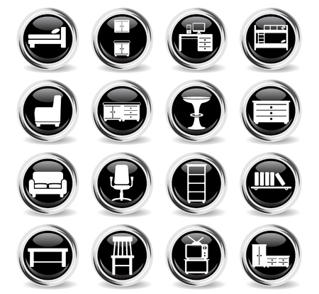 Furniture  simply symbols for web and user interface Illustration