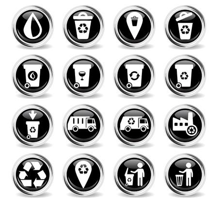 garbage web icons for user interface design Ilustração